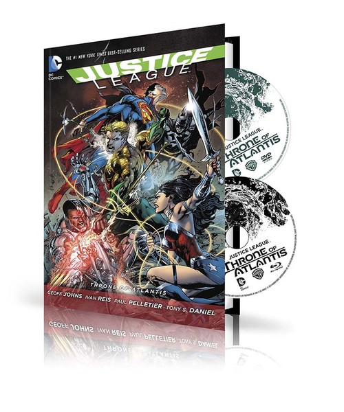 JUSTICE LEAGUE: THRONE OF ATLANTIS HC BOOK AND DVD/BLU-RAY SET