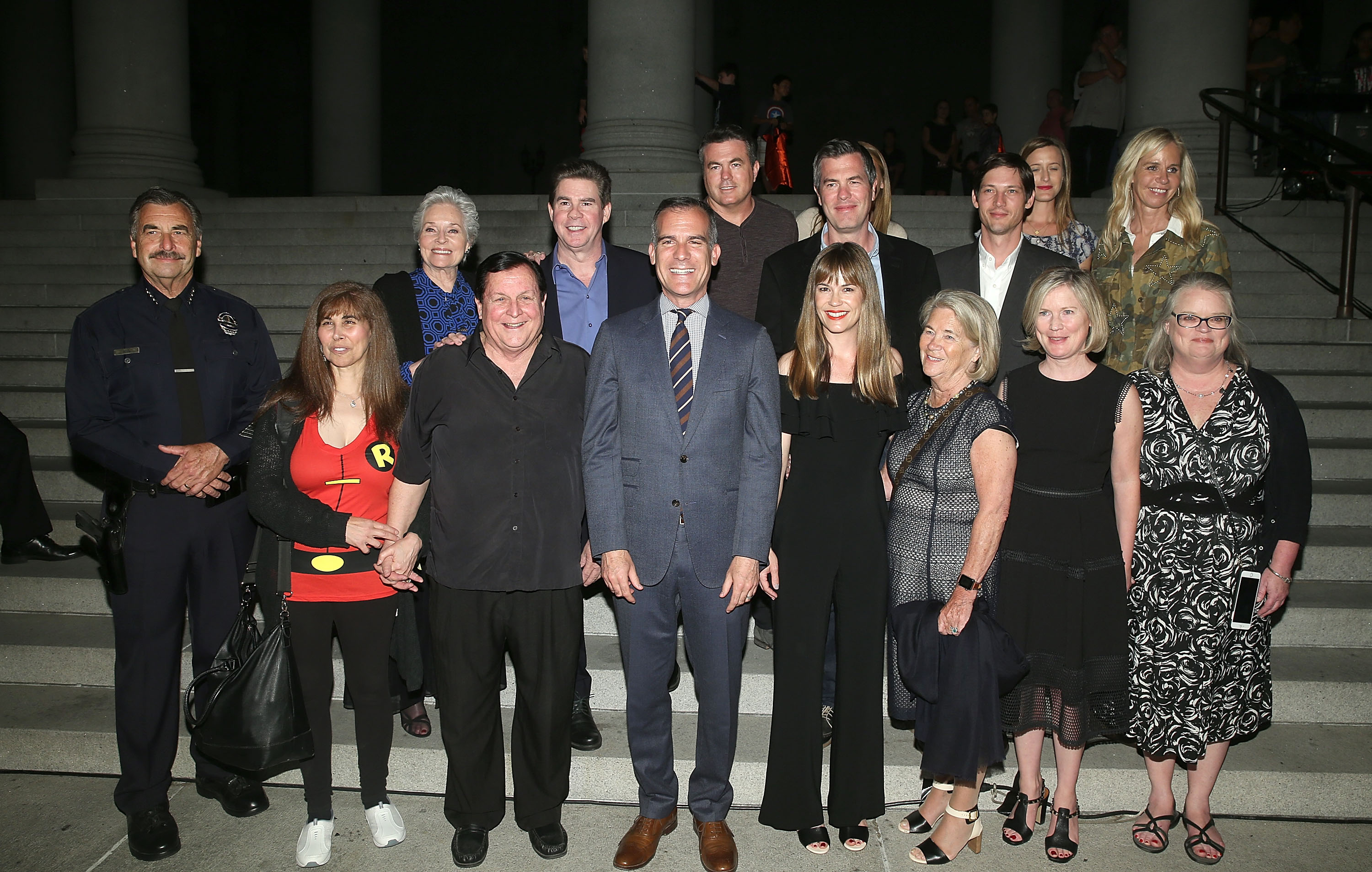 attend The City of Los Angeles and DC Entertainment Bat-Signal Lighting Ceremony honoring Adam West at Los Angeles City Hall on June 15, 2017 in Los Angeles, California.