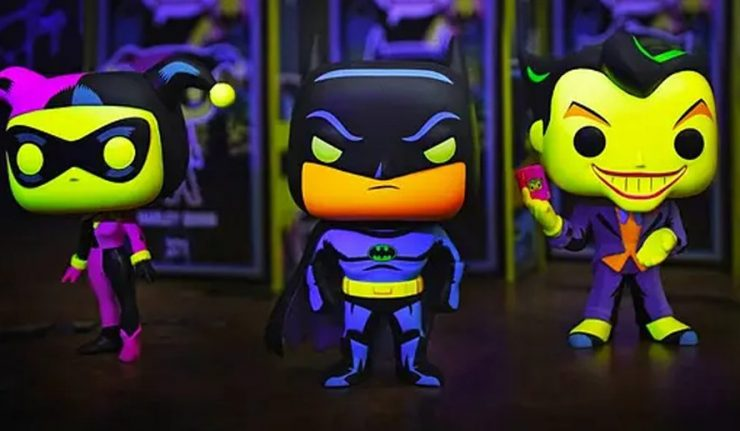 Batman, Harley Quinn, and The Joker Black Light Funko Pops Exclusive to Hot Topic