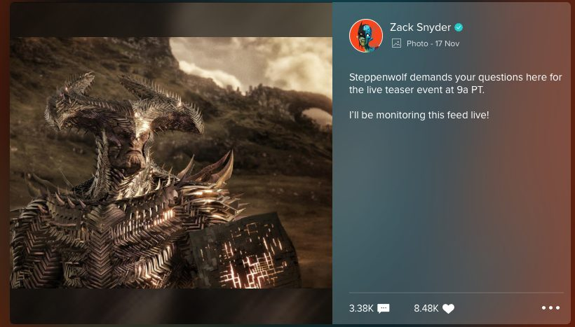 New look at Steppenwolf shared by Zack Snyder